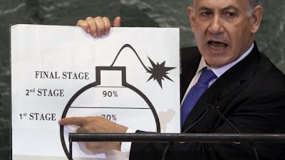 la proxima guerra benjamin netanyahu dibujo caricatura ilustracion bomba nuclear iran